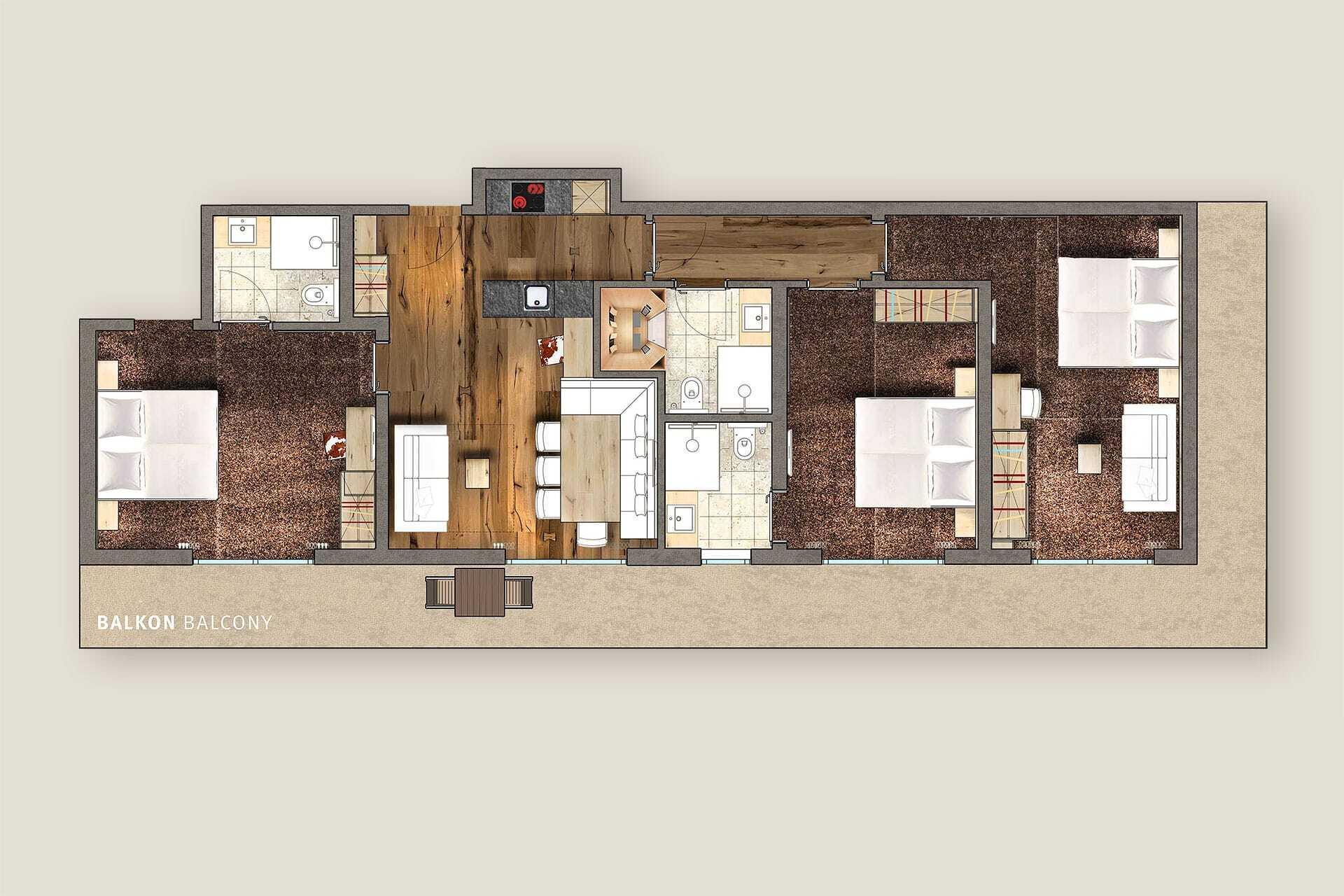 Grundriss Apartment Tirol